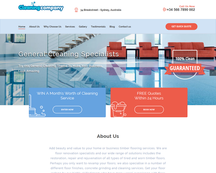 industry template cleaning second theme image